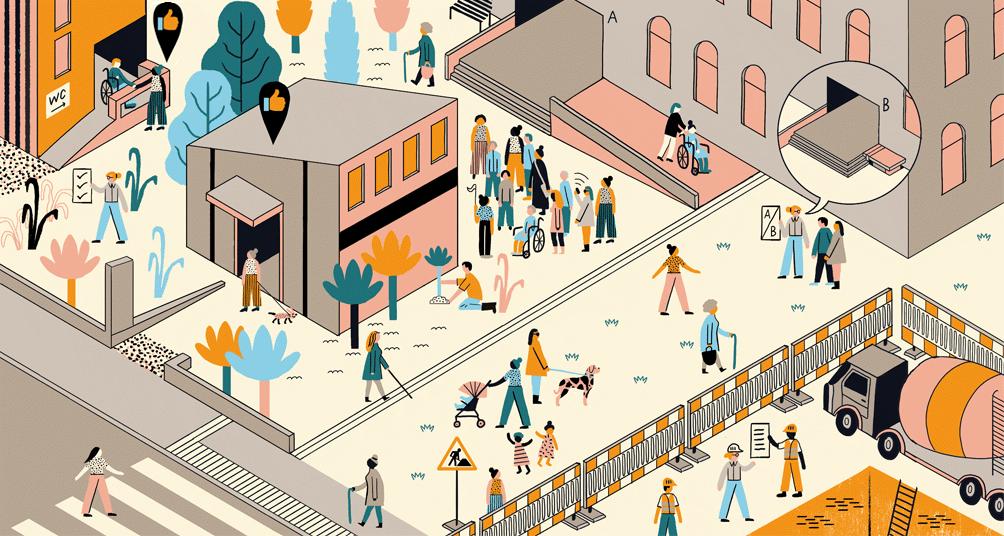 Farbig illustrierte Situationen verschiedener Menschen in möglichst barrierefreier Umgebung.